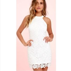 Lulu's Love Poem Ivory Halter Lace Dress Small